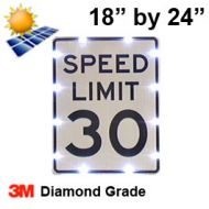 Solar powered SPEED LIMIT Sign (R2-1) 18x24 Diamond Grade DG3