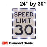 Solar powered SPEED LIMIT Sign (R2-1) 24x30 Diamond Grade DG3
