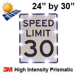 Solar powered SPEED LIMIT Sign (R2-1) 24x30 High Intensity HIP