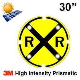 Solar Powered RAILROAD CROSSING (W10-1) 30x30 High Intensity HIP