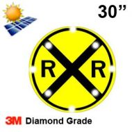 Solar Powered RAILROAD CROSSING (W10-1) 30x30 Diamond Grade DG3