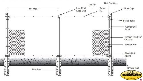 Galvanized Chain Link Fence 6ft with Top and Bottom Rail