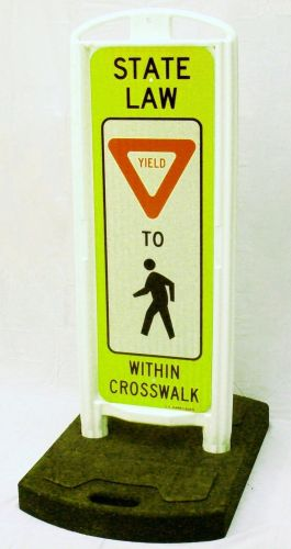YIELD To Pedestrians In-Street Sign with Portable Base - 3M Diamond Grade FYG