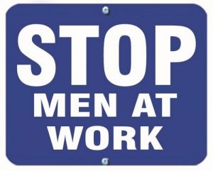 STOP MEN AT WORK - Blue Flag OSHA Sign