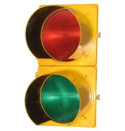 Traffic Signal 12in - Polycarbonate Two Section (Solar Red LED - Green LED)