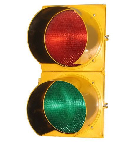 Traffic Signal 8in - Polycarbonate Two Section (VAC Red LED - Green LED)