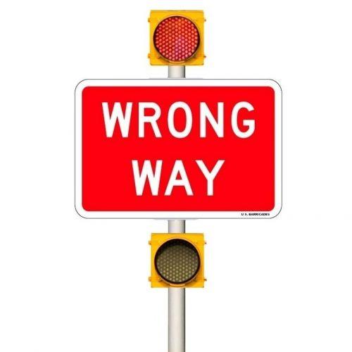 WRONG WAY Warning Beacons System - 24/7 Operation (AC) 60-135 VAC