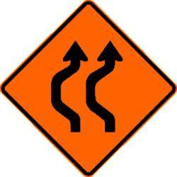 DOUBLE REVERSE CURVE (W24-1aL) Construction Sign