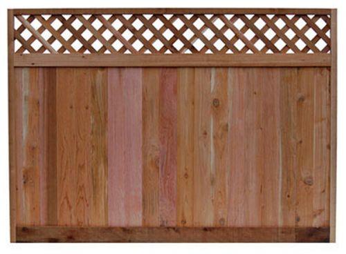 6 ft x 8 ft Western Red Cedar Diagonal Lattice Top Fence Panel
