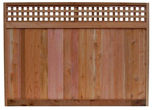 6 x 8 ft. Red Cedar Fence Panel with Standard Checker Lattice Top
