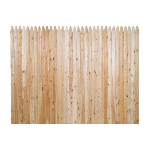 6 ft x 8 ft White Cedar Stockade Pointed Picket Fence
